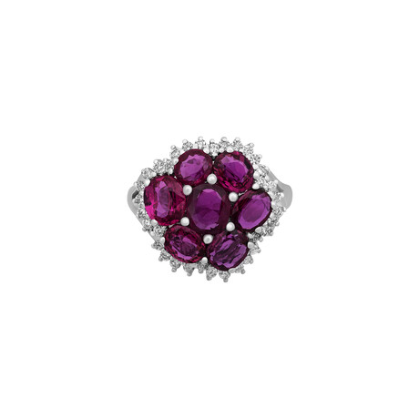 Estate Platinum Diamond + Rubies Ring // Ring Size: 7 // Pre-Owned