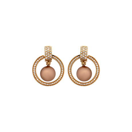 Estate 18k Yellow Gold Diamond + Chocolate Pearl Earrings // Pre-Owned