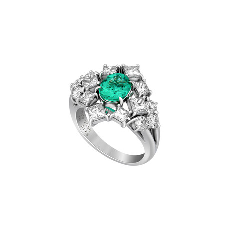 Estate Platinum + 18k Yellow Gold Diamond + Emerald Ring // Ring Size: 5.25 // Pre-Owned