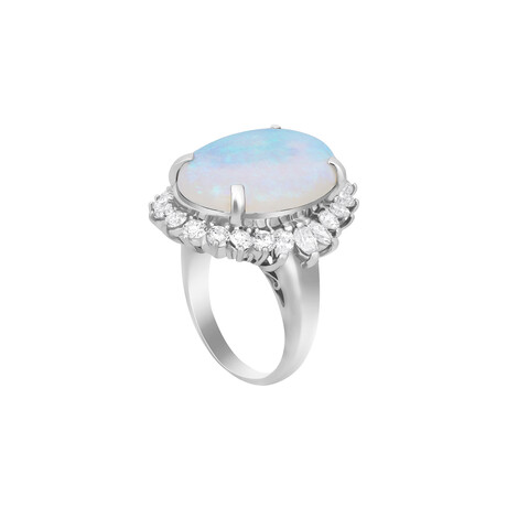 Estate Platinum Opal + Diamond Ring // Ring Size: 6 // Pre-Owned