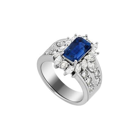 Estate Platinum Diamond + Ceylon Sapphire Ring // Ring Size: 7 // Pre-Owned