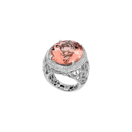Estate 18k White Gold + Diamond + Morganite Ring // Ring Size: 8.5 // Pre-Owned