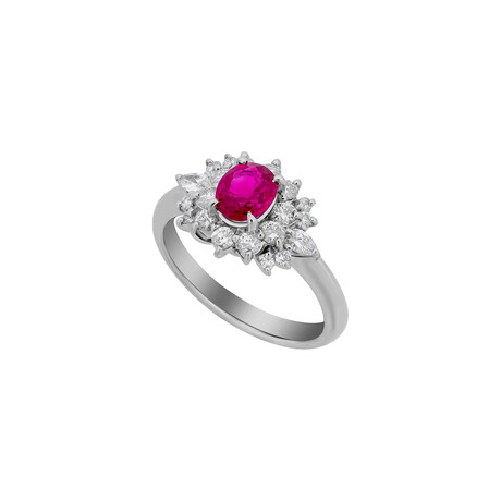 Estate Platinum Diamond + Ruby Ring // Ring Size: 6.25 // Pre-Owned