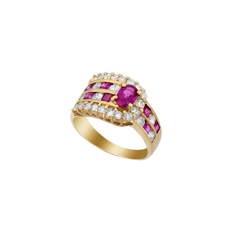 Estate 18k Yellow Gold Diamond + Ruby Ring // Ring Size: 6.25 // Pre-Owned