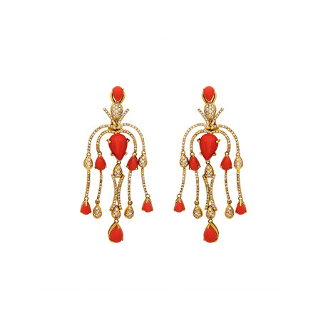 Estate 18k Yellow Gold Diamond + Coral Earrings // Pre-Owned