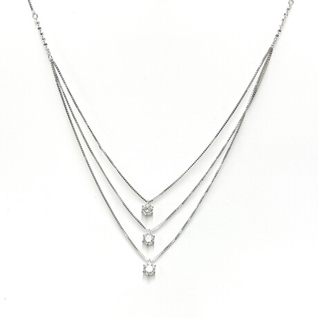 """Estate 18k Whie Gold 3 Diamond Necklace // 17"""" // Pre-Owned"""