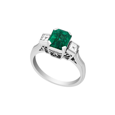 Estate Platinum Colombian Emerald + Diamond Ring // Ring Size: 7 // Pre-Owned