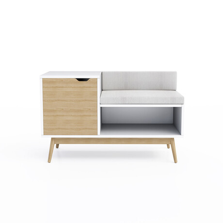 Blythe Sectional Bench // White + Natural