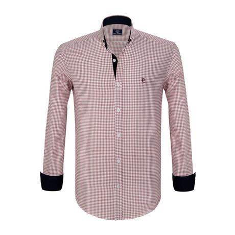 Bailey Button Down Shirt // Ecru + Red (S)