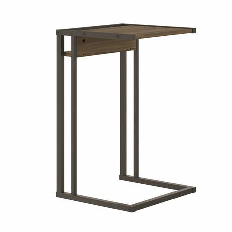 Finley End Table // Dark Brown Oak Melamine + Black Painted Metal Frame