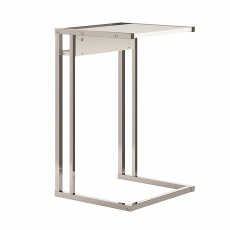Finley End Table // Matte White + Chromed Metal Frame