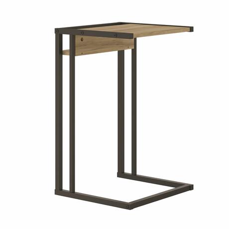 Finley End Table // Oak Melamine + Black Painted Metal Frame