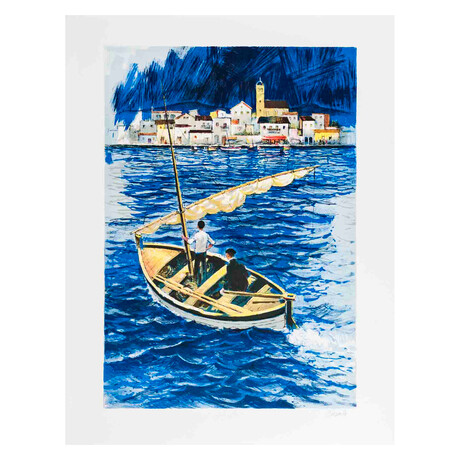 Sailboat In The Port Of Cadaques // Amadeu Casals // 1970 Lithograph // Signed