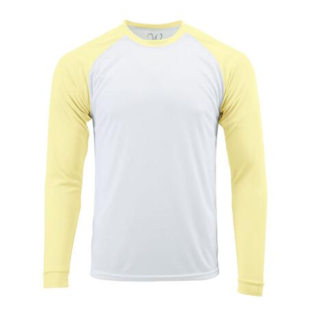Perform Basics Dri-Tech Raglan Contrast Long Sleeve T-Shirt // Light Yellow (S)