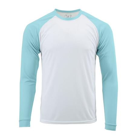 Perform Basics Dri-Tech Raglan Contrast Long Sleeve T-Shirt // Aqua (S)
