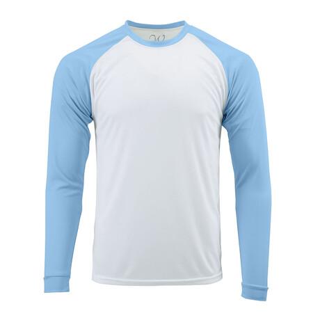 Perform Basics Dri-Tech Raglan Contrast Long Sleeve T-Shirt // Light Blue (S)