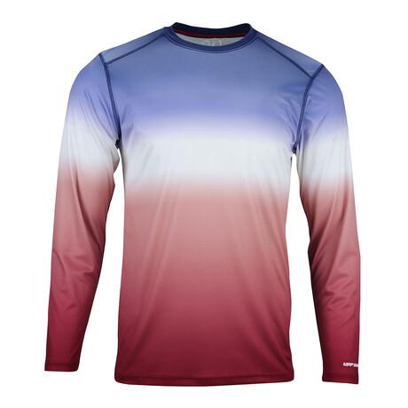 Perform Basics Dri-Tech Tri-Color Long Sleeve T-Shirt // Red + White + Blue (S)