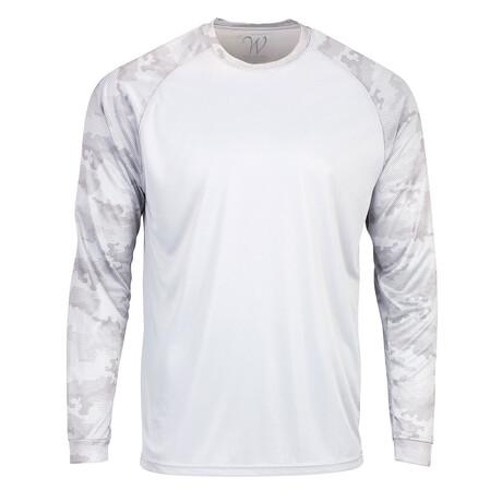 Perform Basics Dri-Tech Raglan Contrast Camo Long Sleeve T-Shirt // White (S)