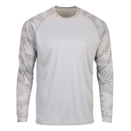 Perform Basics Dri-Tech Raglan Contrast Camo Long Sleeve T-Shirt // Gray (S)