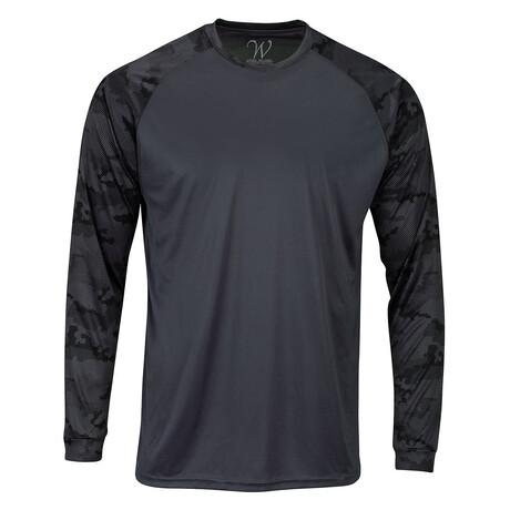 Perform Basics Dri-Tech Raglan Contrast Camo Long Sleeve T-Shirt // Black (S)