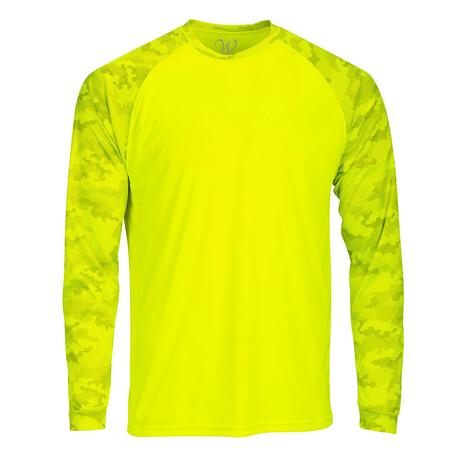 Perform Basics Dri-Tech Raglan Contrast Camo Long Sleeve T-Shirt // Yellow (S)