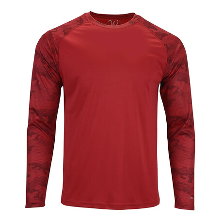 Perform Basics Dri-Tech Raglan Contrast Camo Long Sleeve T-Shirt // Red (S)