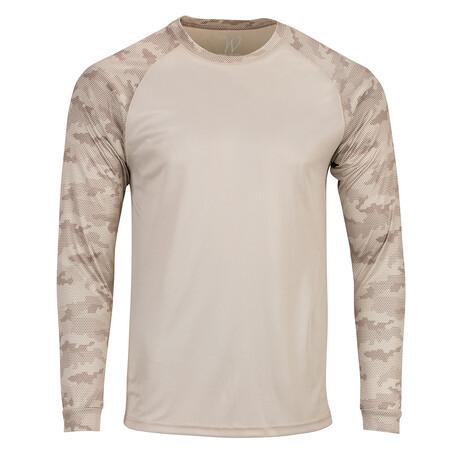 Perform Basics Dri-Tech Raglan Contrast Camo Long Sleeve T-Shirt // Sand (S)