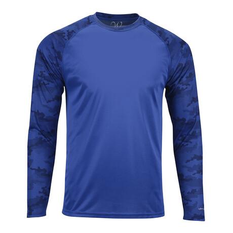 Perform Basics Dri-Tech Raglan Contrast Camo Long Sleeve T-Shirt // Royal Blue (S)