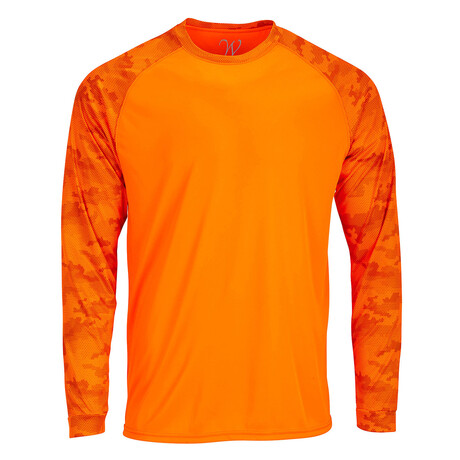 Perform Basics Dri-Tech Raglan Contrast Camo Long Sleeve T-Shirt // Orange (S)
