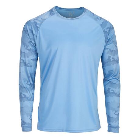Perform Basics Dri-Tech Raglan Contrast Camo Long Sleeve T-Shirt // Light Blue (S)