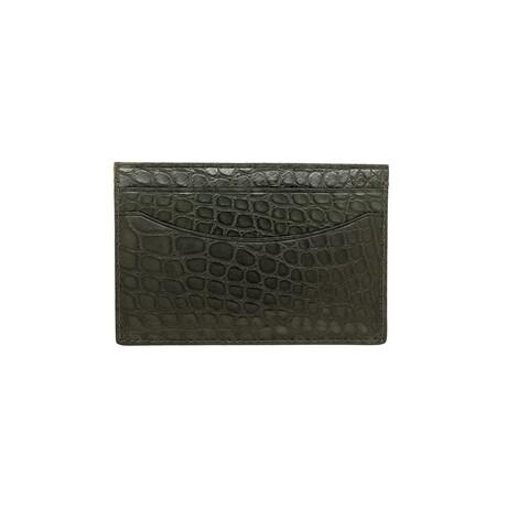 Bryant Park // Genuine Matte Alligator 5 Pocket Curved Card Case (Black)