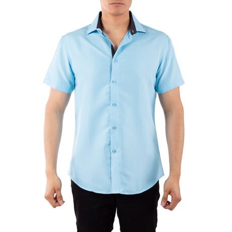 Solid Short Sleeve Button Up Shirt // Blue (XS)
