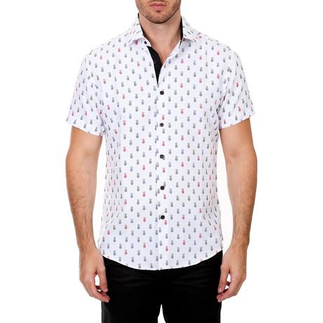 Pineapple Short Sleeve Button Up Shirt // White (XS)