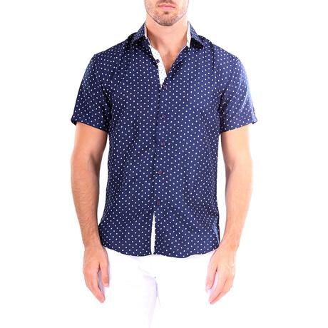 Dotted Short Sleeve Button Up Shirt // Navy (XS)