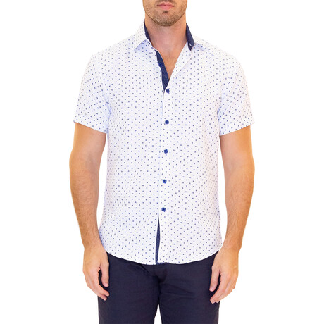 Dotted Short Sleeve Button Up Shirt // White (XS)