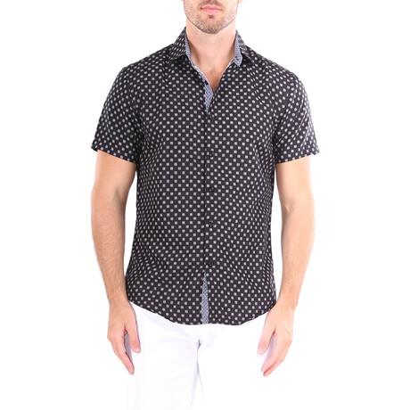 Square Short Sleeve Button Up Shirt // Black (XS)