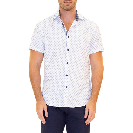 Square Short Sleeve Button Up Shirt // White (XS)