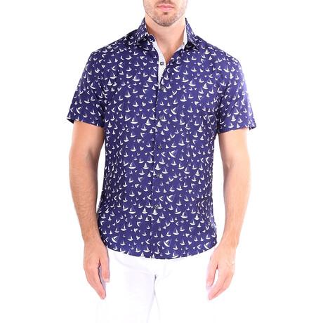 Sailboat Short Sleeve Button Up Shirt // Navy (XS)