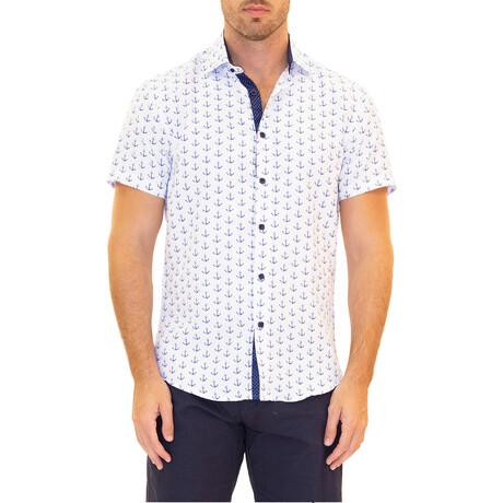Anchor Short Sleeve Button Up Shirt // White + Blue (XS)