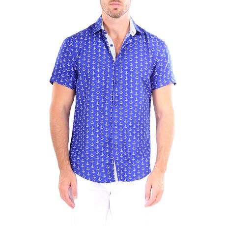 Anchor Short Sleeve Button Up Shirt // Blue (XS)