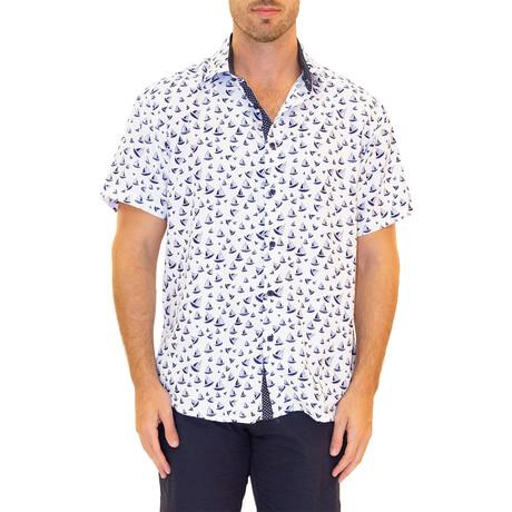 Sailboat Short Sleeve Button Up Shirt // White (XS)