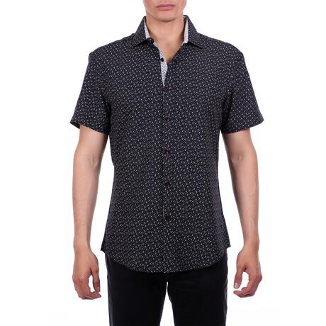 Tiny Anchor Short Sleeve Button Up Shirt // Black (XS)