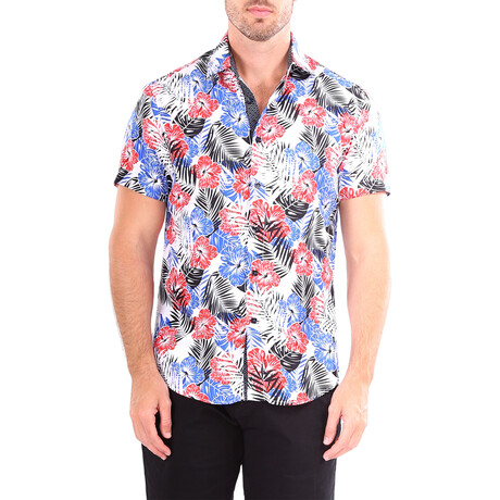 Floral Short Sleeve Button Up Shirt // Blue + Red (XS)