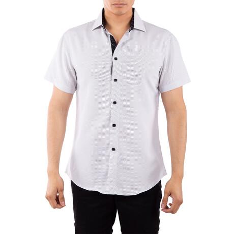Tiny Dot Short Sleeve Button Up Shirt // White (XS)
