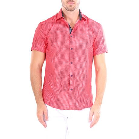 Diamond Short Sleeve Button Up Shirt // Red (XS)