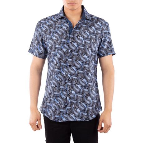 Paisley Short Sleeve Button Up Shirt // Blue (XS)