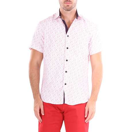 Scatter Short Sleeve Button Up Shirt // Red (XS)