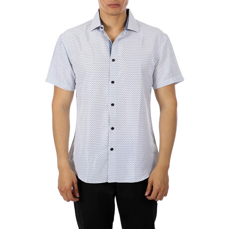 Patterned Short Sleeve Button Up Shirt // White + Blue (XS)