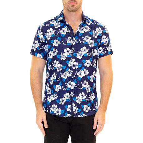 Floral Short Sleeve Button Up Shirt // Blue (XS)