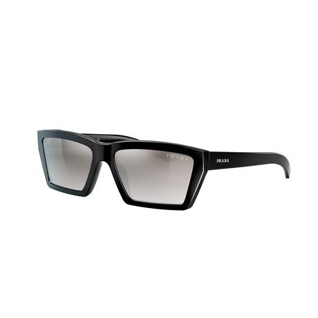 Women's PR04VS-1AB5O057 Sunglasses // Black + Gradient Gray + Silver Mirror
